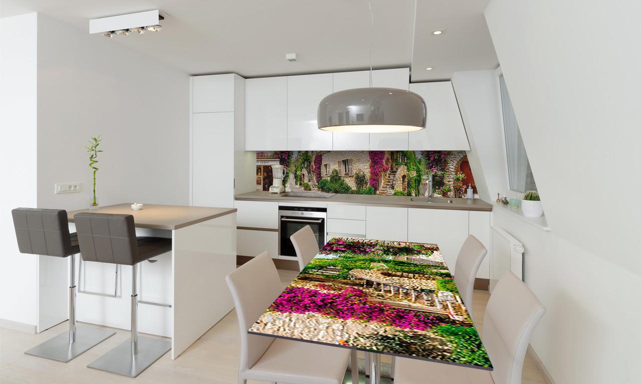 Наклейка 3Д виниловая на стол Zatarga «Зеленые улицы Прованса» 650х1200 мм для домов, квартир, столов,