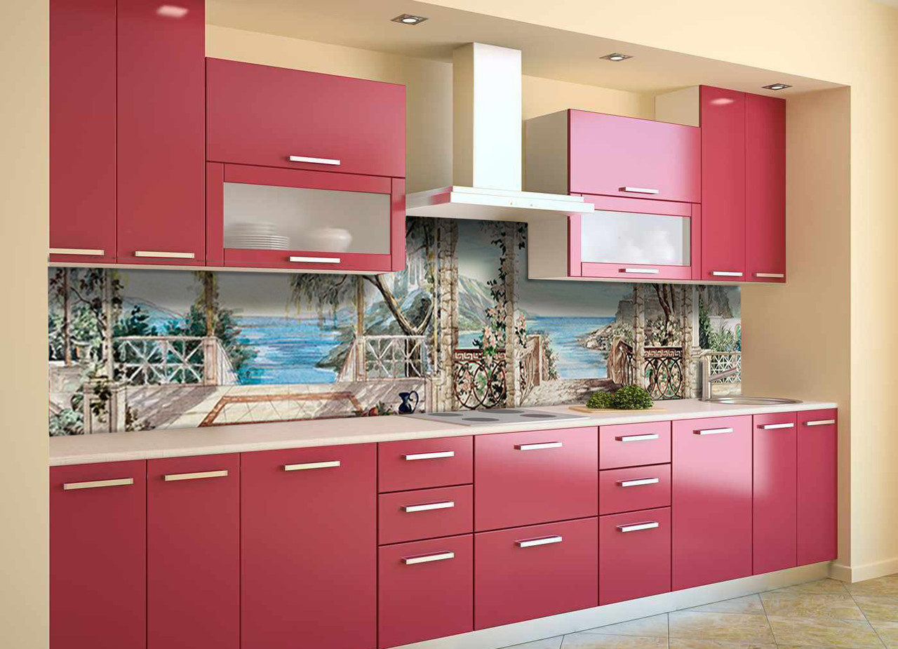 Скинали на кухню Zatarga «Пристань» 600х2500 мм виниловая 3Д наклейка кухонный фартук самоклеящаяся