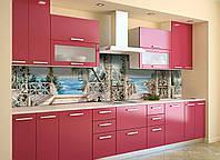 Скинали на кухню Zatarga «Пристань» 600х2500 мм виниловая 3Д наклейка кухонный фартук самоклеящаяся, фото 1