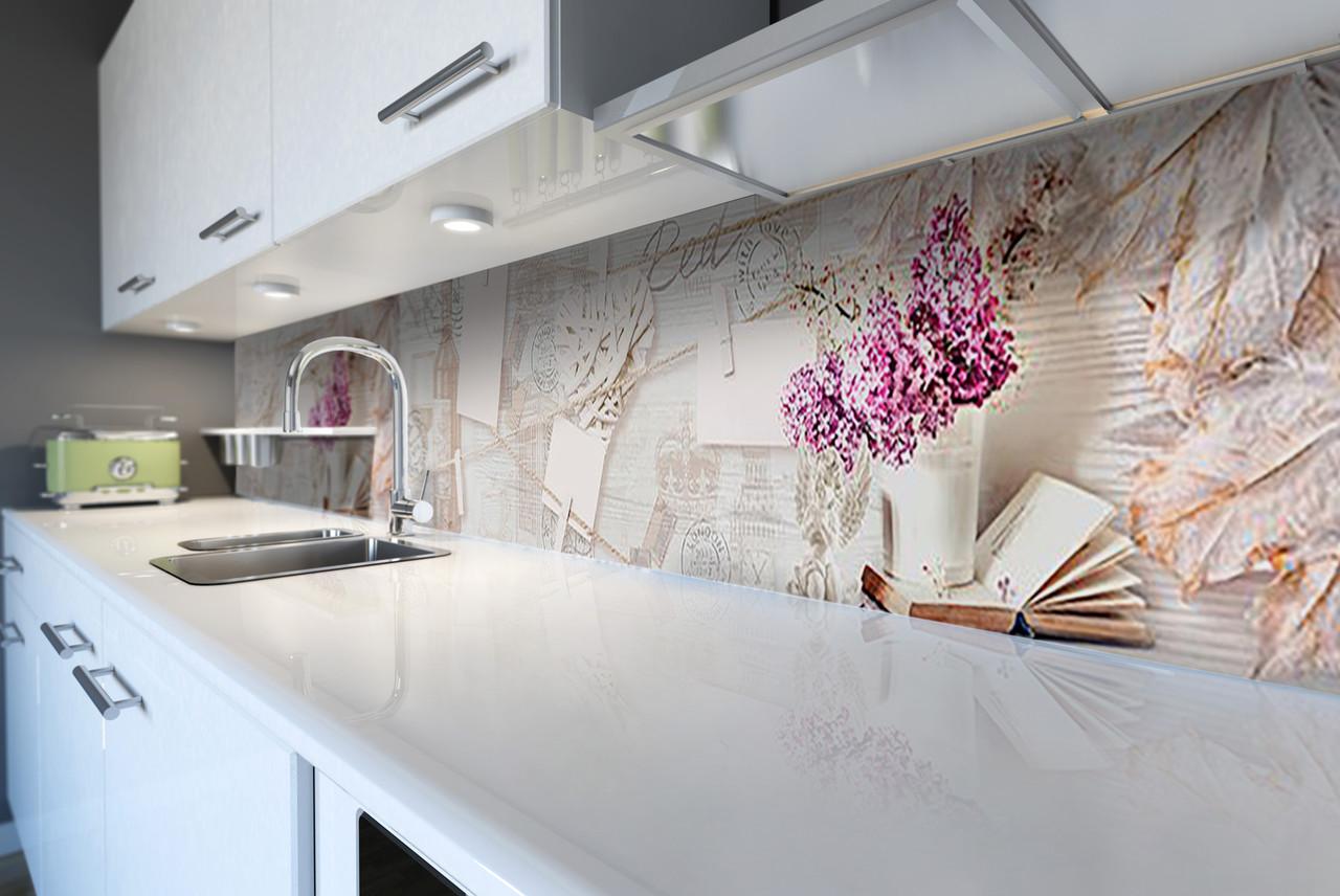 Скинали на кухню Zatarga «Сирень и Вино» 600х2500 мм виниловая 3Д наклейка кухонный фартук самоклеящаяся