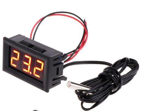 Цифровий термометр с виносним датчиком 1м з кріпленням для авто, живлення 12 вольт, колір дисплею червоний