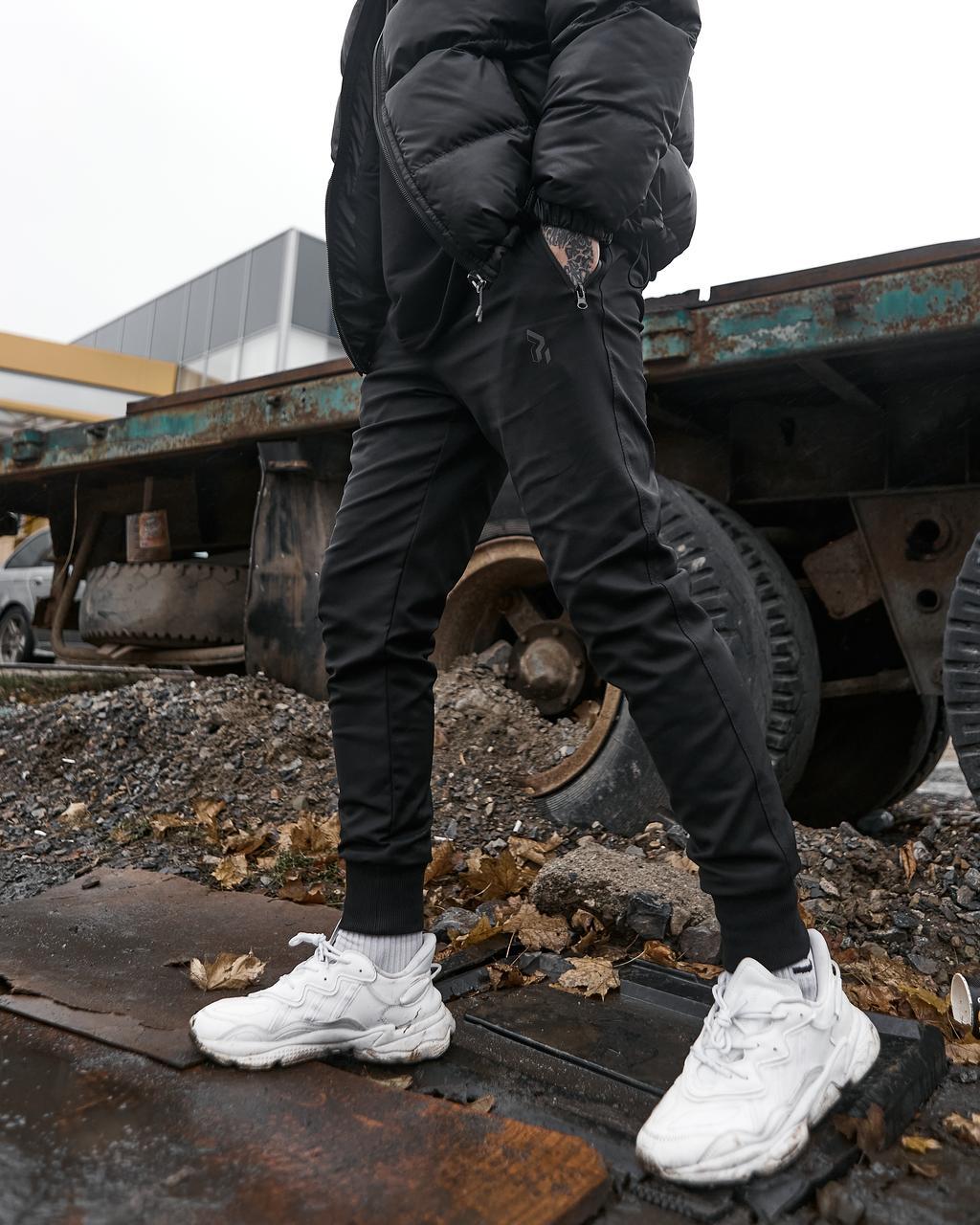 Теплые брюки джоггеры мужские Огонь Пушка Zuren черные