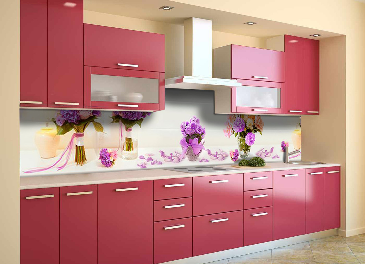 Скинали на кухню Zatarga «Цветочные Букеты» 600х3000 мм виниловая 3Д наклейка кухонный фартук самоклеящаяся