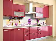 Скинали на кухню Zatarga «Цветочные Букеты» 600х3000 мм виниловая 3Д наклейка кухонный фартук самоклеящаяся, фото 1