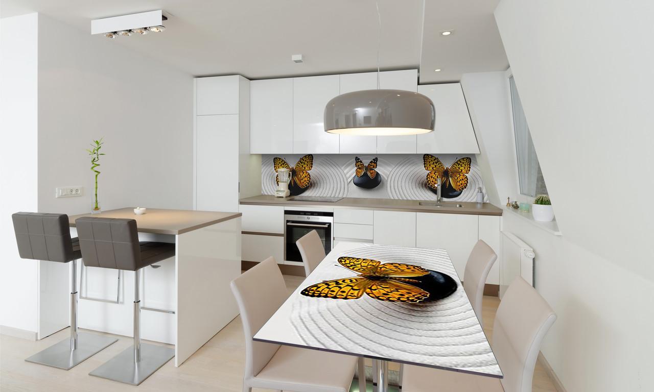 Наклейка 3Д виниловая на стол Zatarga «Тигровые Бабочки» 650х1200 мм для домов, квартир, столов,