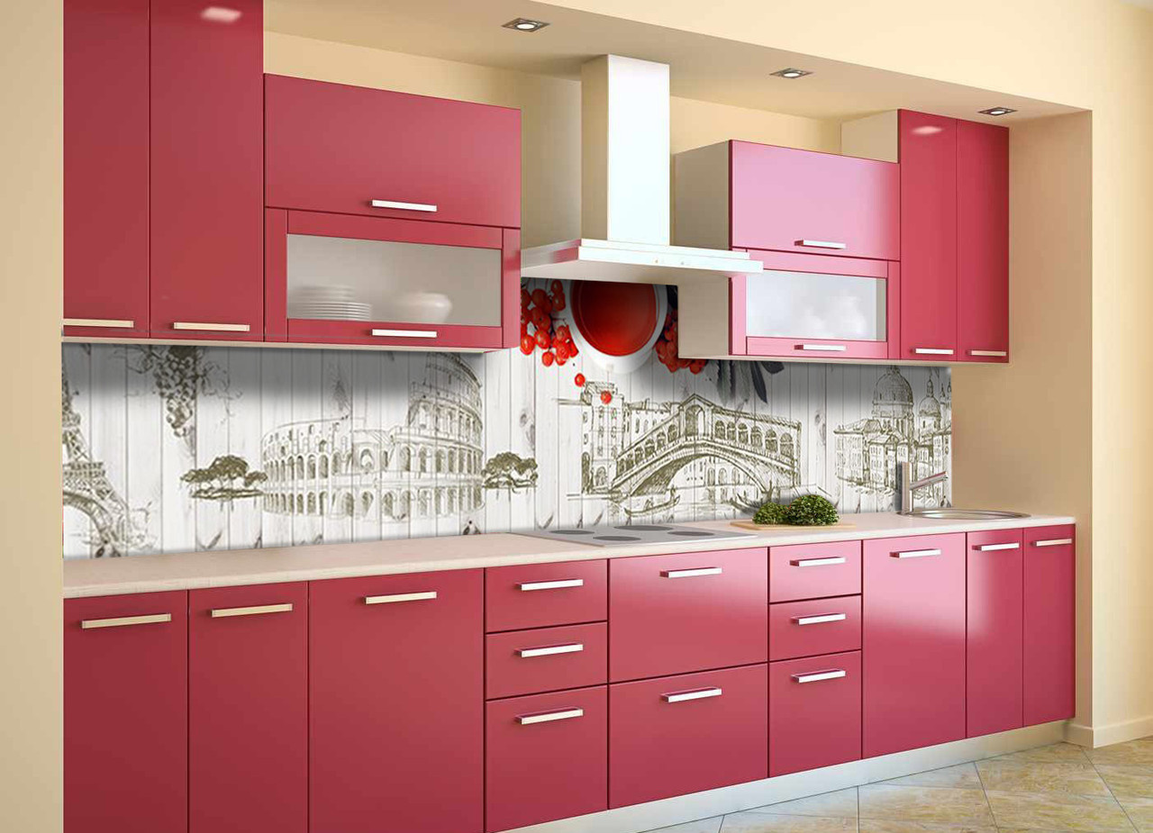 Скинали на кухню Zatarga «Яркий Акцент» 600х2500 мм виниловая 3Д наклейка кухонный фартук самоклеящаяся