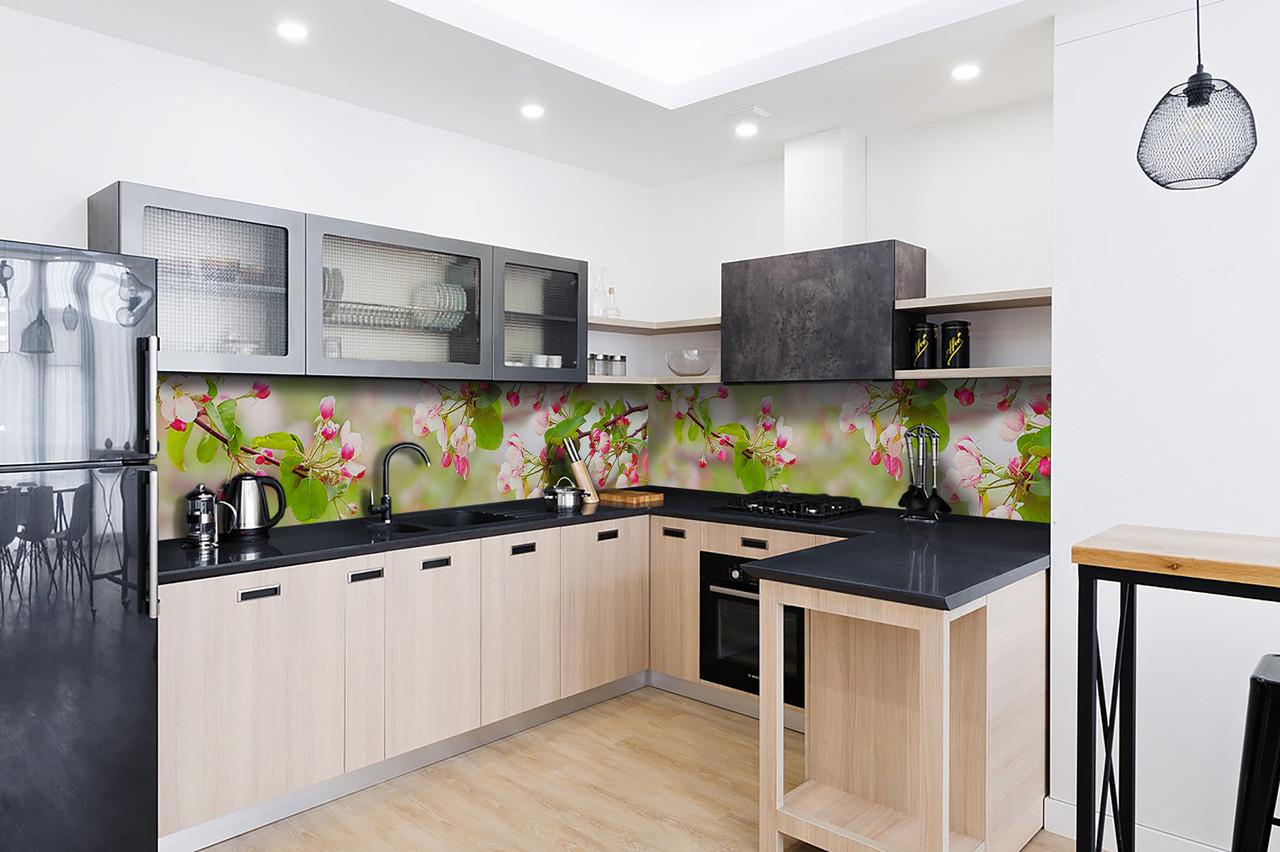 Скинали на кухню Zatarga «Розовые Цветы вишни» 600х2500 мм виниловая 3Д наклейка кухонный фартук самоклеящаяся