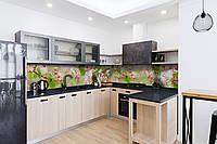 Скинали на кухню Zatarga «Розовые Цветы вишни» 600х2500 мм виниловая 3Д наклейка кухонный фартук самоклеящаяся, фото 1