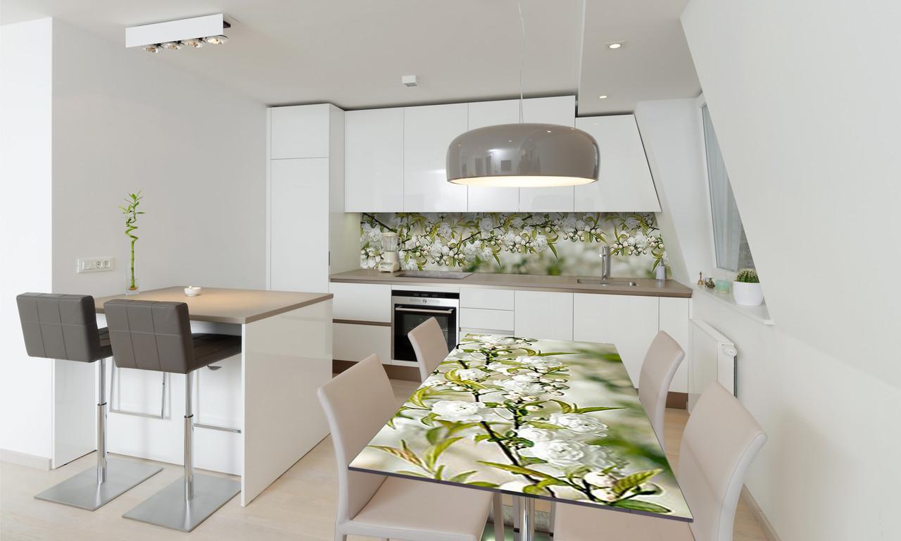 Наклейка 3Д виниловая на стол Zatarga «Белая Сакура» 650х1200 мм для домов, квартир, столов, кофейн,