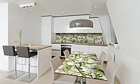 Наклейка 3Д виниловая на стол Zatarga «Белая Сакура» 650х1200 мм для домов, квартир, столов, кофейн,, фото 1