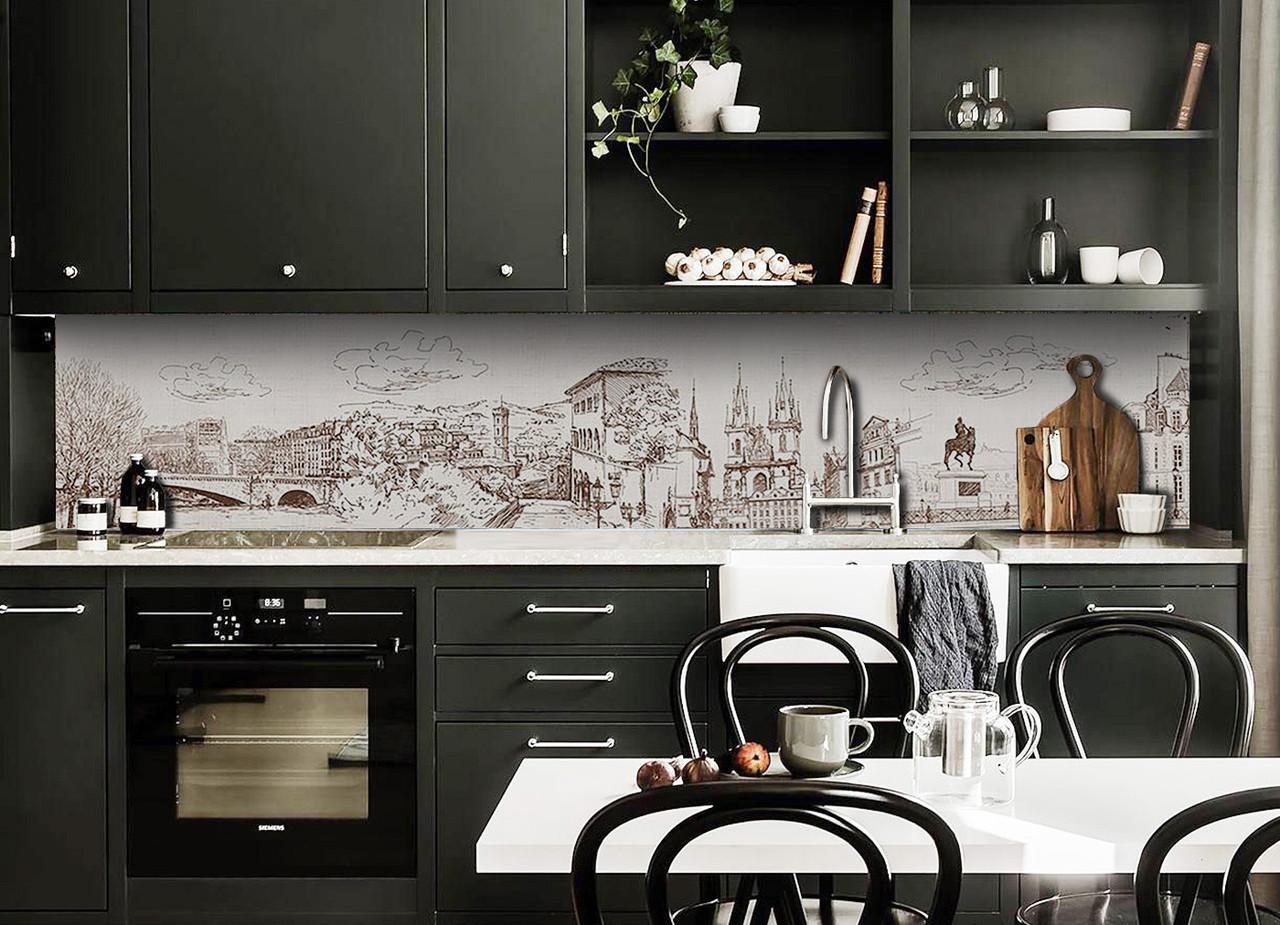 Скинали на кухню Zatarga «Нарисованный Город» 650х2500 мм виниловая 3Д наклейка кухонный фартук самоклеящаяся
