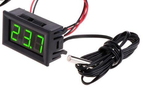 Цифровий термометр с виносним датчиком 1м з кріплен. для авто, живлення 12 вольт, колір дисплею світло-зелений