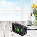 Цифровий термометр с виносним датчиком 1м з кріплен. для авто, живлення 12 вольт, колір дисплею світло-зелений, фото 3