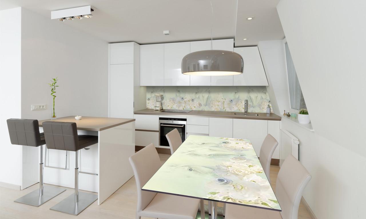 Наклейка 3Д виниловая на стол Zatarga «Нарисованные Розы» 650х1200 мм для домов, квартир, столов,