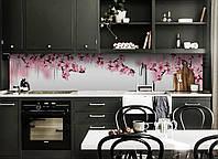 Скинали на кухню Zatarga «Розовые цветы Вишни» 600х3000 мм виниловая 3Д наклейка кухонный фартук самоклеящаяся, фото 1
