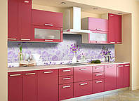 Скинали на кухню Zatarga «Фиолетовые цветы» 600х2500 мм виниловая 3Д наклейка кухонный фартук самоклеящаяся, фото 1