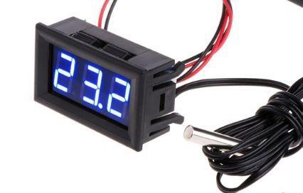 Цифровий термометр с виносним датчиком 1м з кріпленням для авто, живлення 12 вольт, колір дисплею синій