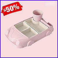 Набор бамбуковой посуды Машинка для детей детская бамбуковая посуда из 2-х тарелок и чашки BP19 Car Pink