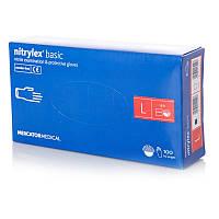 Перчатки нитриловые неопудренные Mercator Medical NITRYLEX BASIC 100 шт размер L Синий