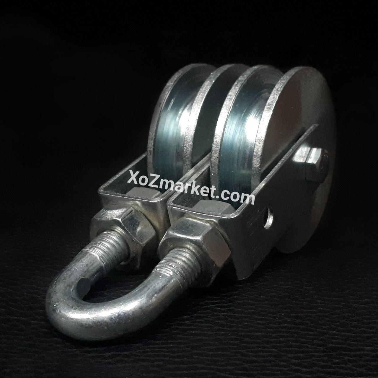 Подвійний блок 56 мм монтажний з підшипником (Подвійний металевий блок з підшипником)