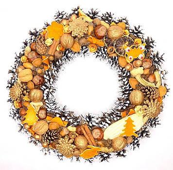 Новорічний вінок ручної роботи «Золотий горішок»