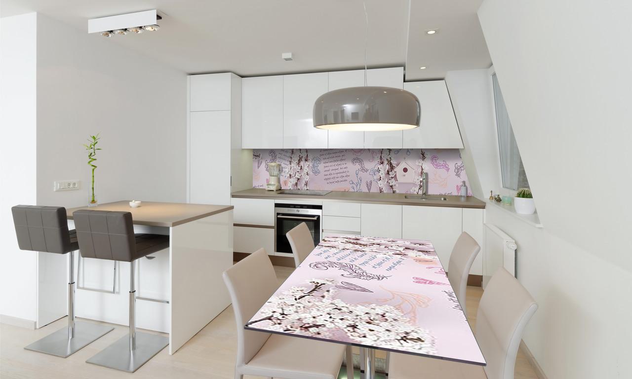 Наклейка 3Д виниловая на стол Zatarga «Стихи» 600х1200 мм для домов, квартир, столов, кофейн, кафе