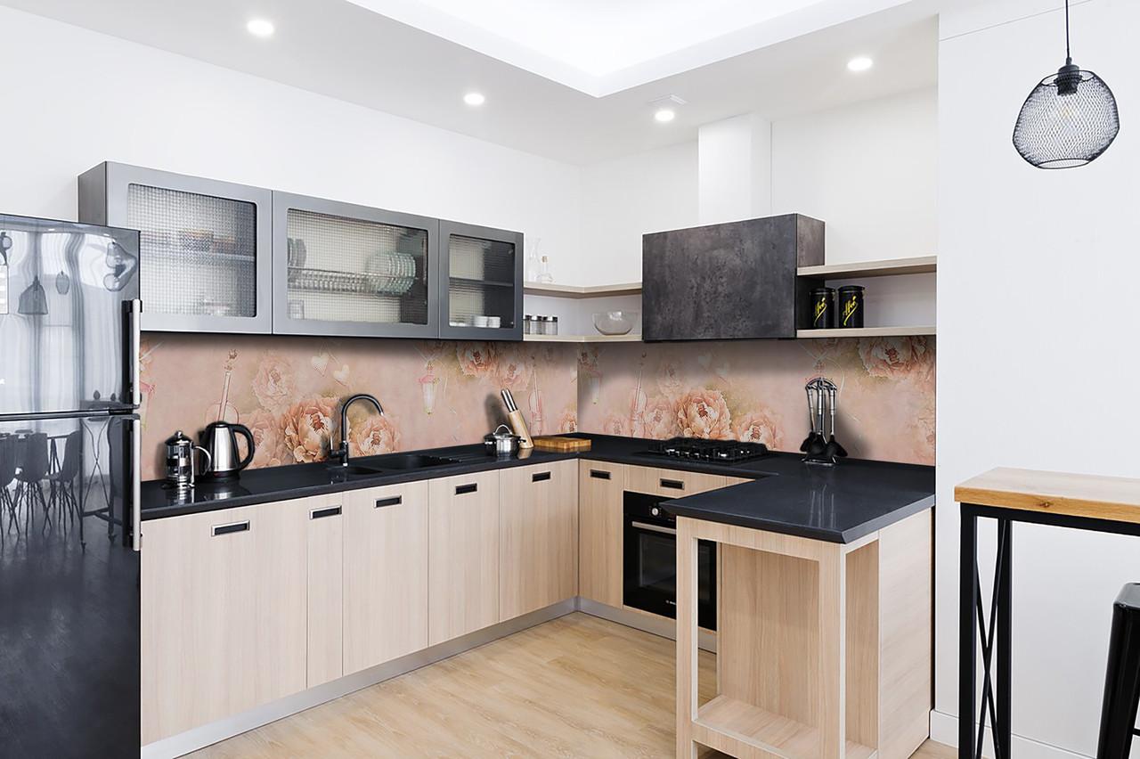 Скинали на кухню Zatarga «Музыка Цветов» 600х2500 мм виниловая 3Д наклейка кухонный фартук самоклеящаяся