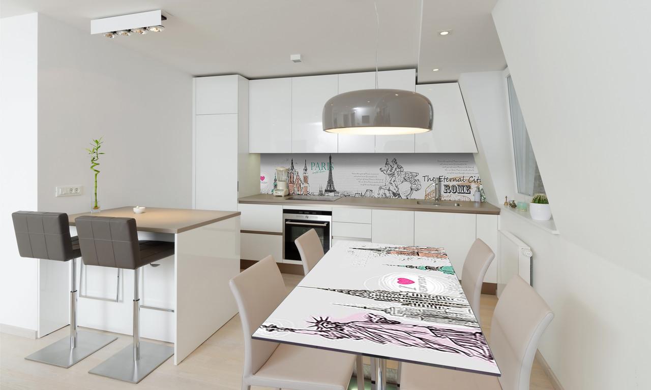 Наклейка 3Д виниловая на стол Zatarga «Путешествие» 650х1200 мм для домов, квартир, столов, кофейн,