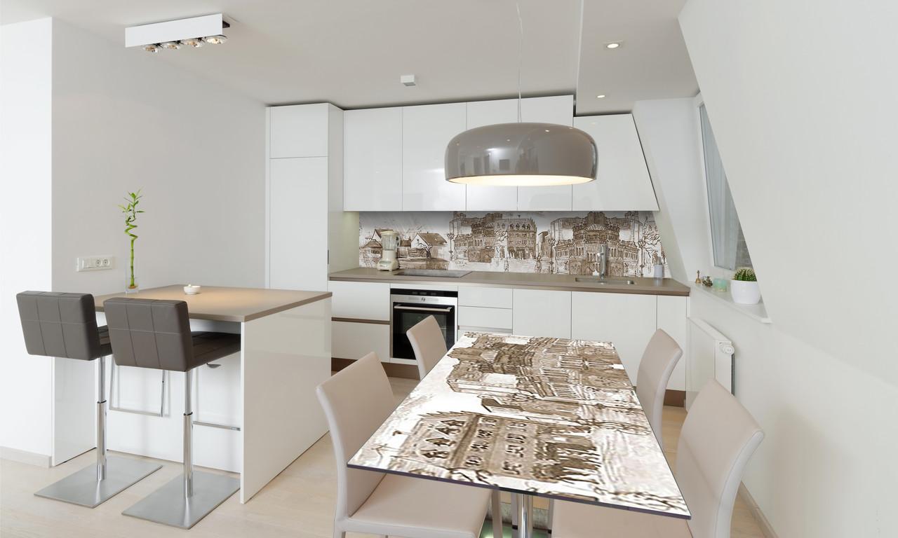 Наклейка 3Д виниловая на стол Zatarga «Старинный город» 600х1200 мм для домов, квартир, столов, кофейн,