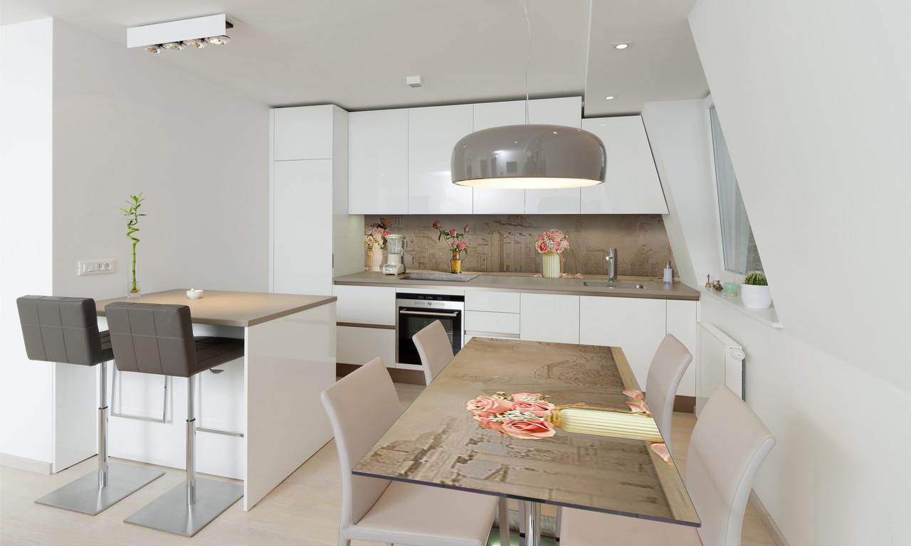 Наклейка 3Д виниловая на стол Zatarga «Розы в вазах» 650х1200 мм для домов, квартир, столов, кофейн,