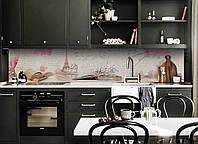 Скинали на кухню Zatarga «Париж в листах» 600х3000 мм вінілова 3Д Наліпка кухонний фартух самоклеюча, фото 1