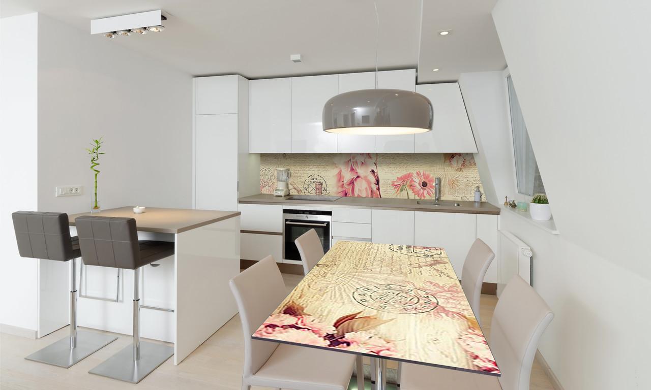 Наклейка 3Д виниловая на стол Zatarga «Нежные Герберы» 600х1200 мм для домов, квартир, столов, кофейн,