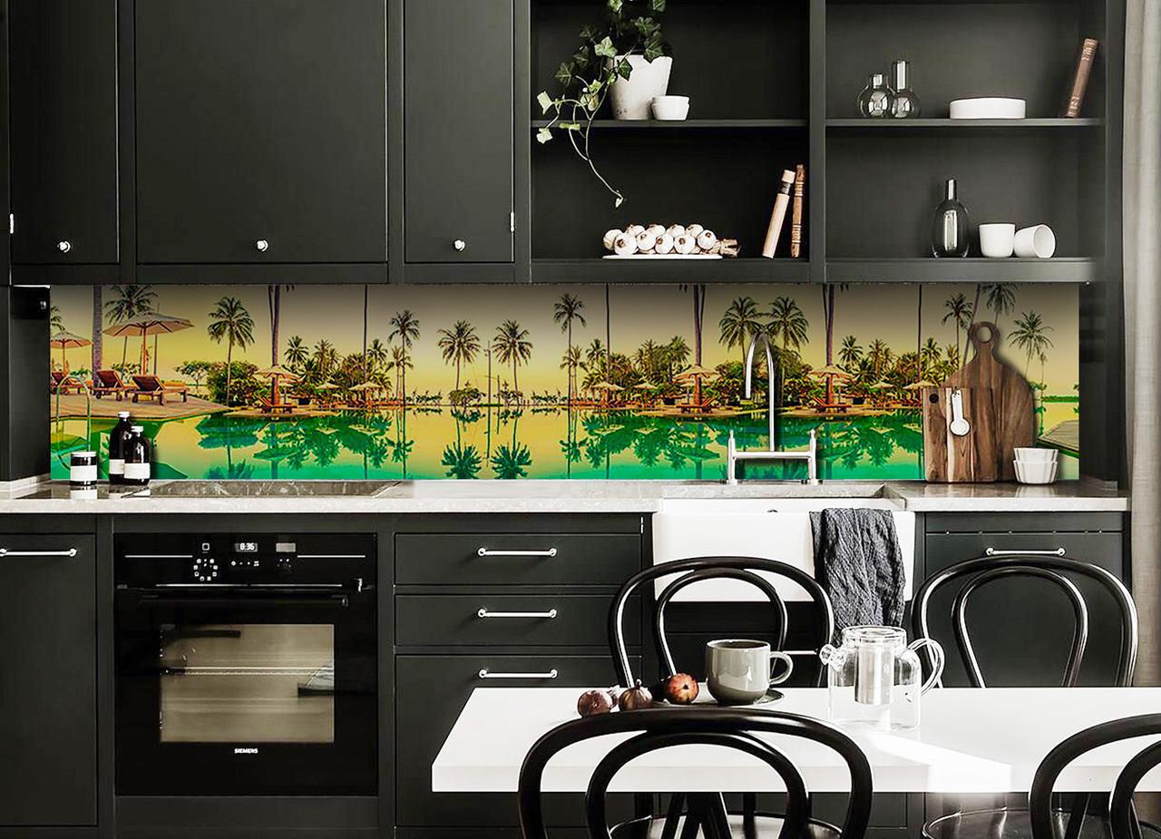 Скинали на кухню Zatarga «Тропический отдых» 600х3000 мм виниловая 3Д наклейка кухонный фартук самоклеящаяся