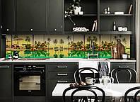 Скинали на кухню Zatarga «Тропический отдых» 600х3000 мм виниловая 3Д наклейка кухонный фартук самоклеящаяся, фото 1