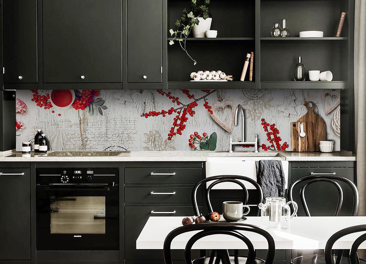 Скинали на кухню Zatarga «Красные Ягоды» 600х2500 мм виниловая 3Д наклейка кухонный фартук самоклеящаяся