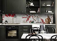 Скинали на кухню Zatarga «Красные Ягоды» 600х2500 мм виниловая 3Д наклейка кухонный фартук самоклеящаяся, фото 1