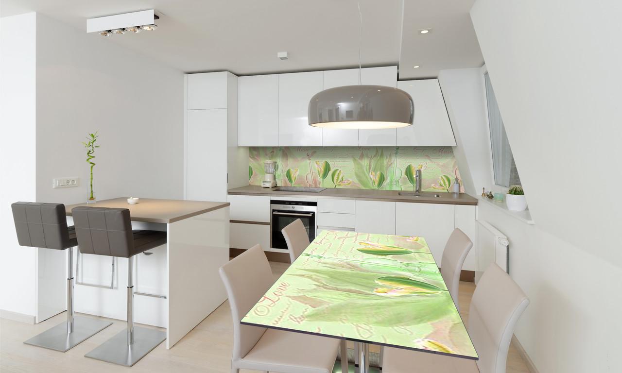 Наклейка 3Д виниловая на стол Zatarga «Зеленые Тюльпаны» 600х1200 мм для домов, квартир, столов,