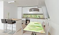 Наклейка 3Д виниловая на стол Zatarga «Зеленые Тюльпаны» 600х1200 мм для домов, квартир, столов, , фото 1