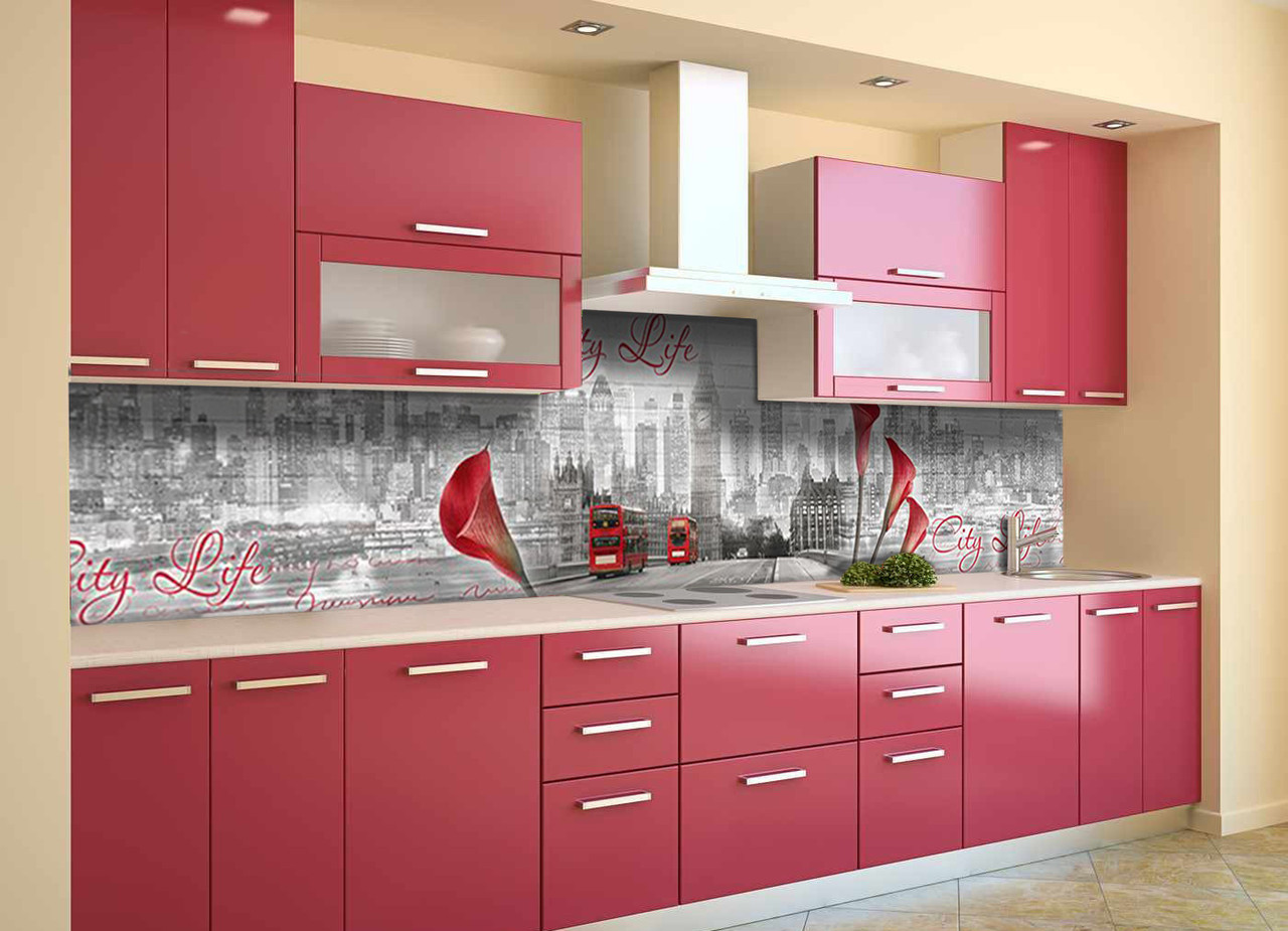 Скинали на кухню Zatarga «Городская жизнь» 650х2500 мм виниловая 3Д наклейка кухонный фартук самоклеящаяся