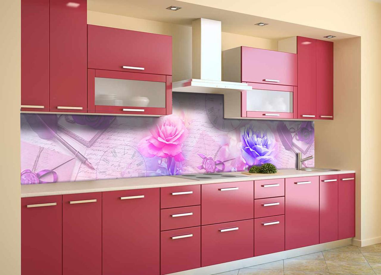 Скинали на кухню Zatarga «Утренние Пионы» 650х2500 мм виниловая 3Д наклейка кухонный фартук самоклеящаяся