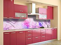 Скинали на кухню Zatarga «Утренние Пионы» 650х2500 мм виниловая 3Д наклейка кухонный фартук самоклеящаяся, фото 1