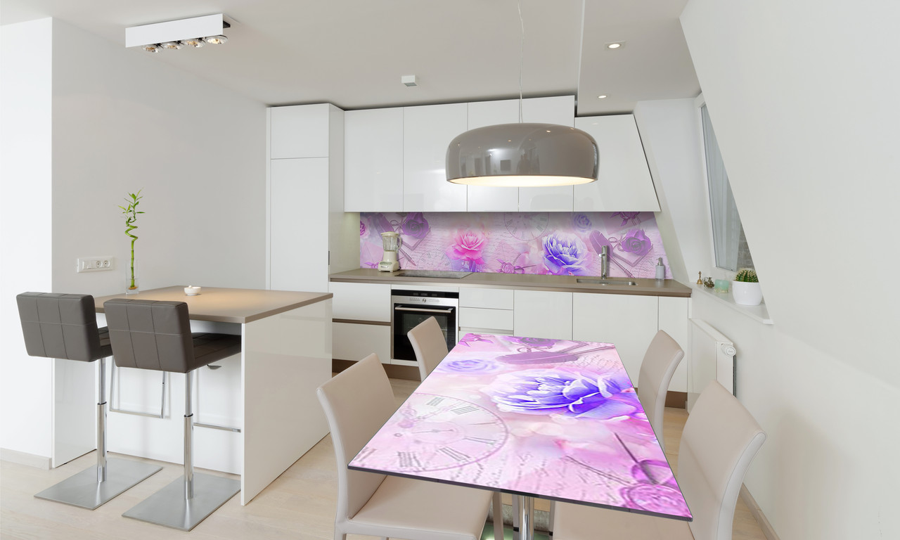 Наклейка 3Д виниловая на стол Zatarga «Утренние Пионы» 650х1200 мм для домов, квартир, столов, кофейн,