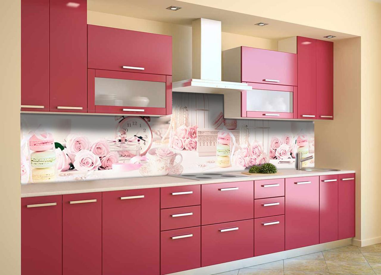 Скинали на кухню Zatarga «Розовый Ажур» 650х2500 мм виниловая 3Д наклейка кухонный фартук самоклеящаяся