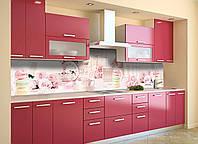 Скинали на кухню Zatarga «Розовый Ажур» 650х2500 мм виниловая 3Д наклейка кухонный фартук самоклеящаяся, фото 1