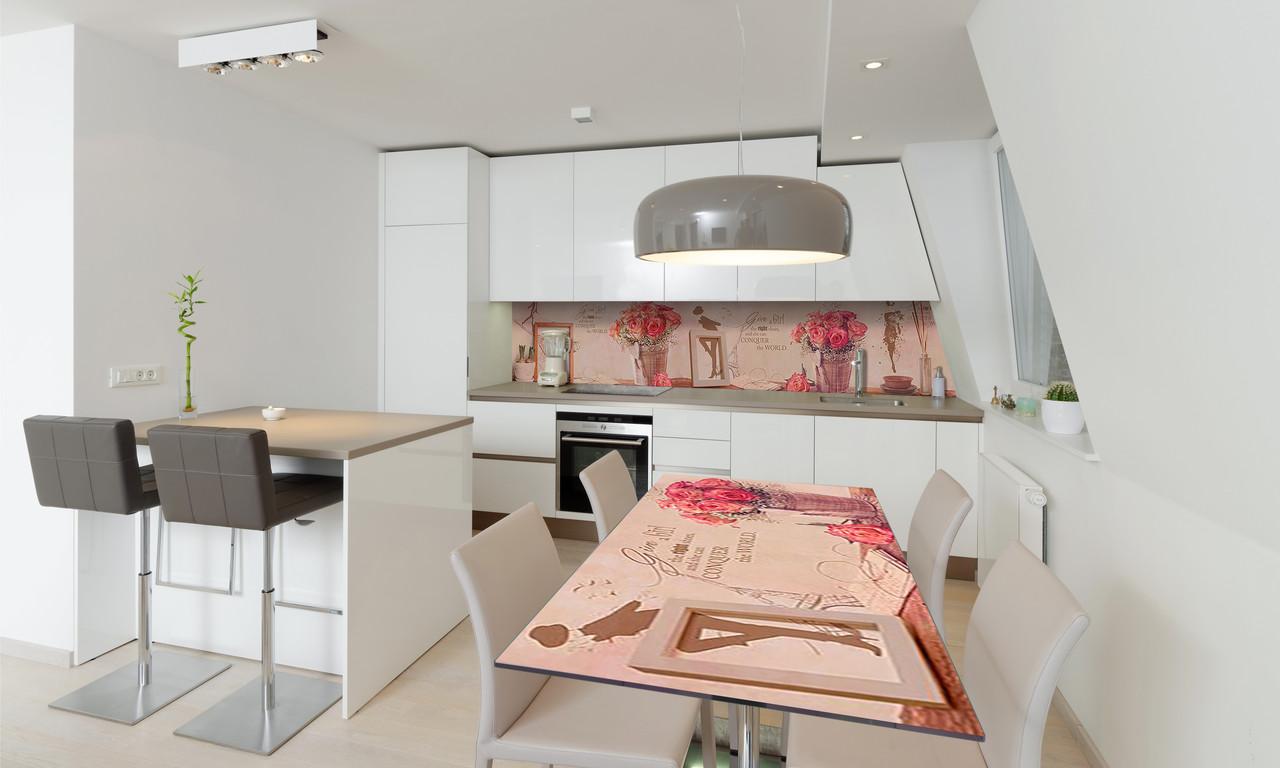 Наклейка 3Д виниловая на стол Zatarga «Розы в Лукошках» 650х1200 мм для домов, квартир, столов, кофейн,