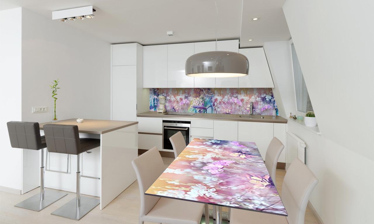 Наклейка 3Д виниловая на стол Zatarga «Полевые цветы Велосипед» 650х1200 мм для домов, квартир, столов,