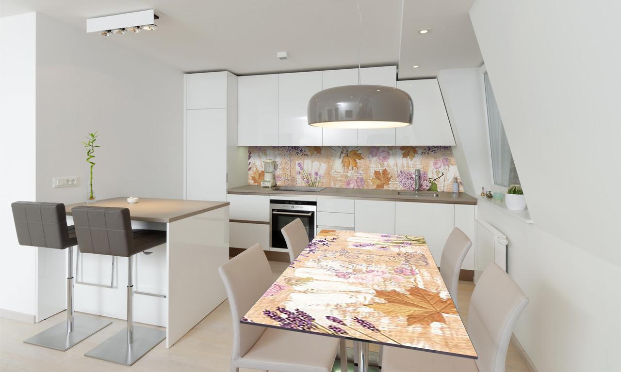 Наклейка 3Д виниловая на стол Zatarga «Осень» 650х1200 мм для домов, квартир, столов, кофейн, кафе