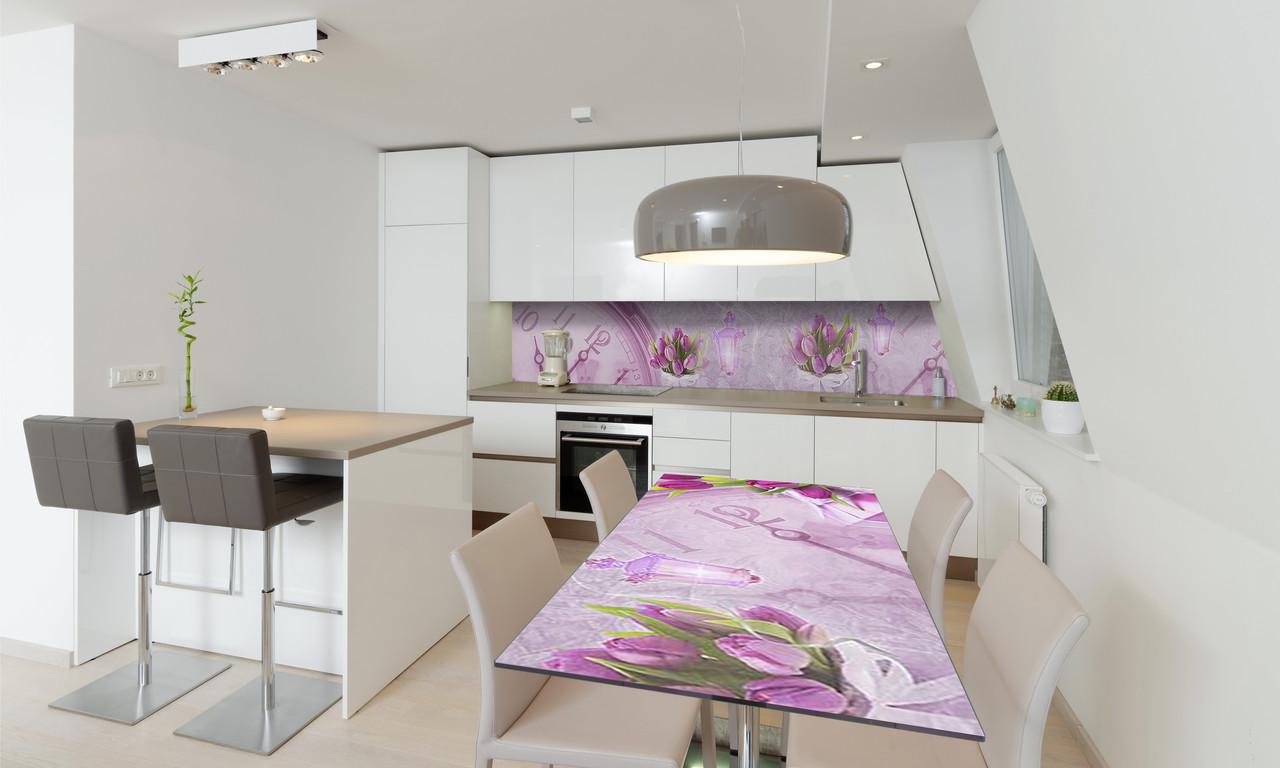 Наклейка 3Д виниловая на стол Zatarga «Время Тюльпанов» 600х1200 мм для домов, квартир, столов, кофейн,