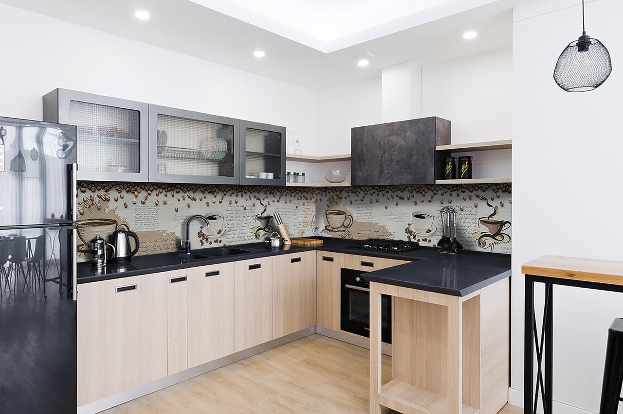 Скинали на кухню Zatarga «Кофейный винтаж» 600х3000 мм виниловая 3Д наклейка кухонный фартук самоклеящаяся для