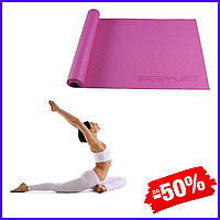 Гимнастический коврик йога мат SportVida Pvc 4 мм SV-HK0049 Pink для фитнеса йоги пилатеса и аэробики